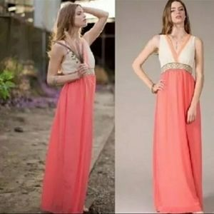 Flying Tomato Boho Lace Embroidered Maxi Dress S
